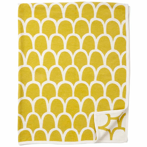 Klippan Feathers Organic Cotton Chenille Blanket, Yellow