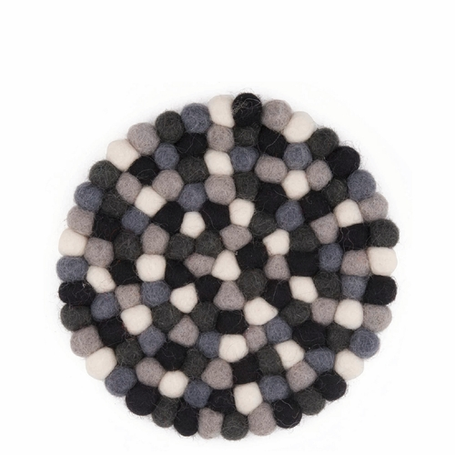 Feel Felt Trivet, Round - Black & White, 5.5""