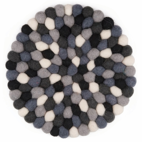 Feel Felt Trivet, Round - Multi Black & White, 7""