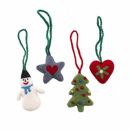 Felted Wool Christmas Ornaments - Set of 4