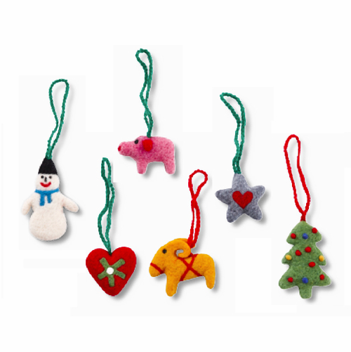 Felted Wool Christmas Ornaments - Set of 6