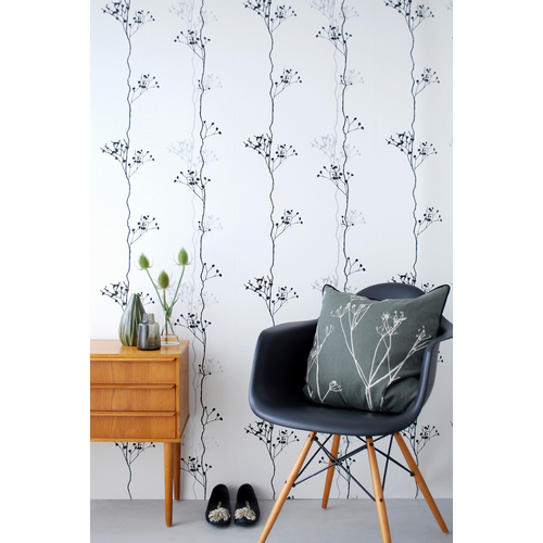 ferm LIVING Berry Black - Black / White / Silver Wallpaper