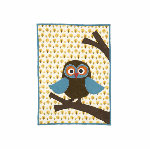 ferm LIVING Owl Quilted Blanket - Multi-Colored