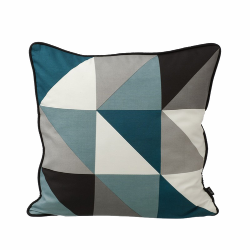 ferm LIVING Remix Cushion Blue - Blue / White / Black / Petrol / Grey