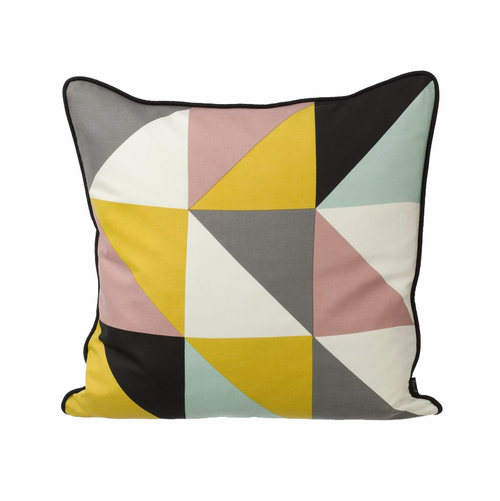 ferm LIVING Remix Cushion Yellow - White / Black / Curry / Aqua