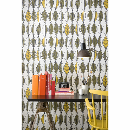ferm LIVING Retro Leaves - Olive / Curry  Black Wallpaper