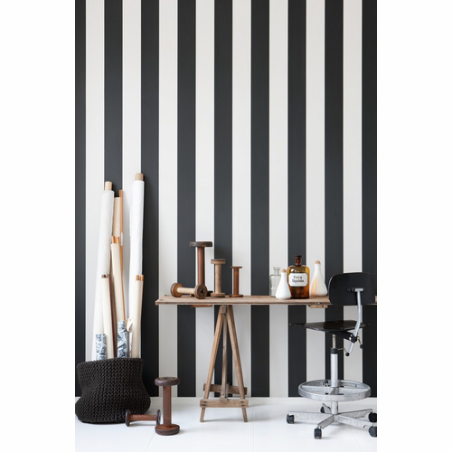 ferm LIVING Vertigo - Black / Off White Wallpaper