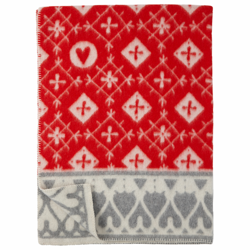 Fjällnäs ECO Lambs Wool Blanket, Red/Grey