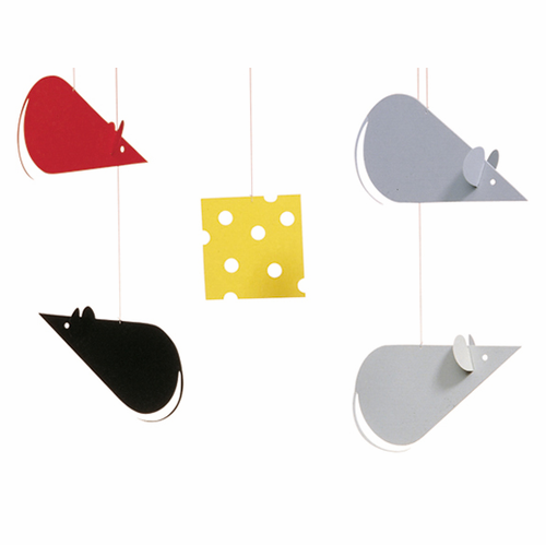 Flensted Cheese Mice Black-Grey Mobile