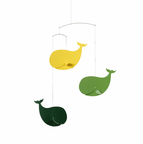 Flensted Happy Whales, Yellow-Green Mobile