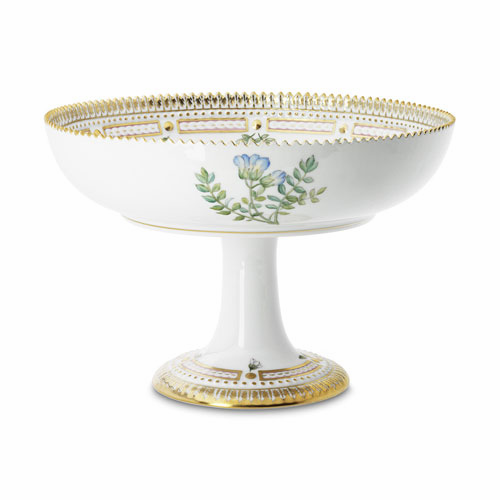 Flora Danica Round Bowl on High Foot