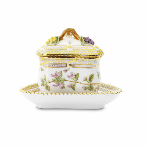 Flora Danica Round Custard Cup with Cover & Stand