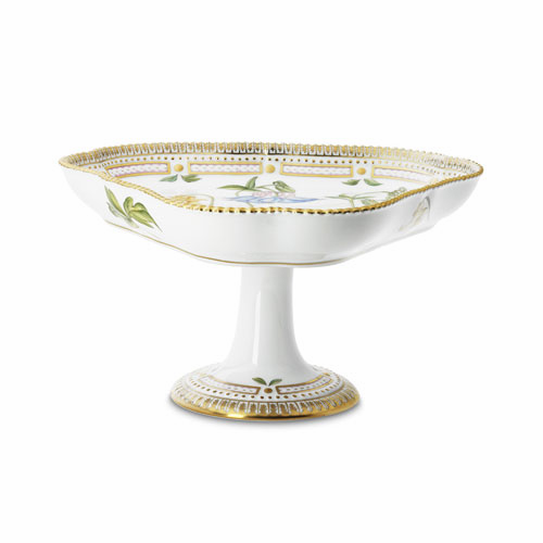 Flora Danica Triangular Bowl on High Foot