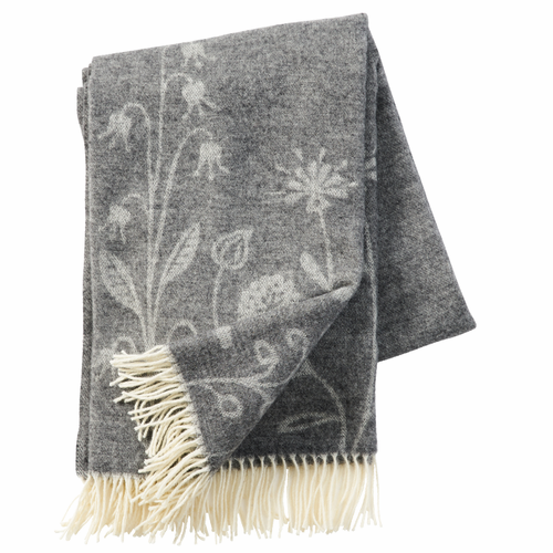 Flower Meadow Brushed Merino & Lambs Wool Throw, Grey