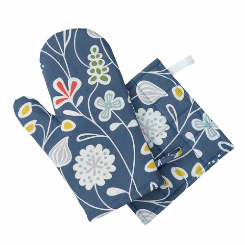 Flower Meadow Oven Glove & Pot Holder Set, Blue