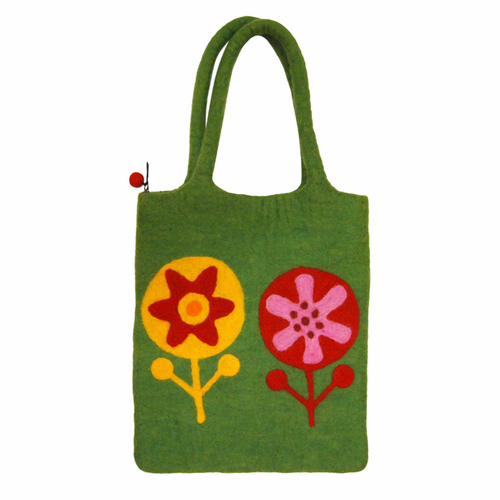 Flower Power Felted Wool Bag