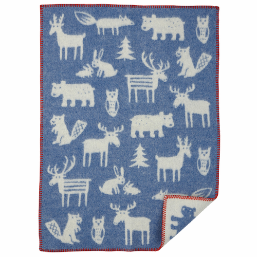 Forest ECO Wool Baby Blanket, Blue