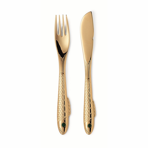 Gense Nobel Gold Plated 4 Piece Fish Cutlery Box Set (Incl. 2 each of GE7570188, 89)