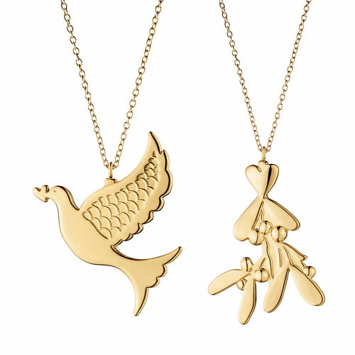 Georg Jensen 2014 Holiday Ornaments, Mistletoe & Dove Pair (Gold)