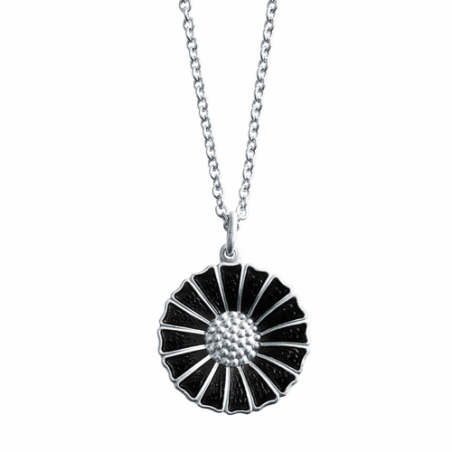 Georg Jensen Black Daisy Pendant In Sterling Silver