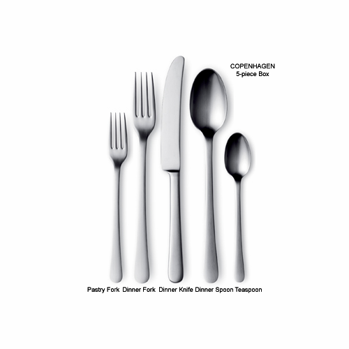 Georg Jensen Copenhagen Steel Five Piece Plate Setting