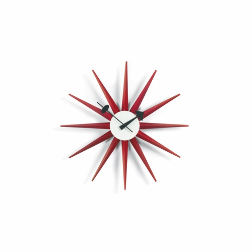 Vitra George Nelson Sunburst Wall Clock, Red