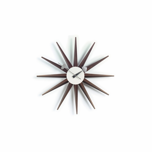 George Nelson Sunburst Wall Clock, Walnut