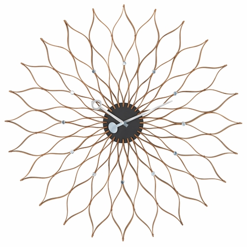 George Nelson Sunflower Wall Clock, Birch/Black