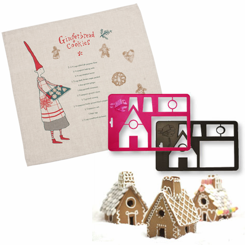 Gingerbread House Red Cutter Set with Pixie Recipe Linen