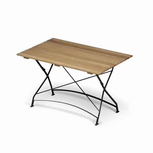Grenen Table, Teak/Green Metal