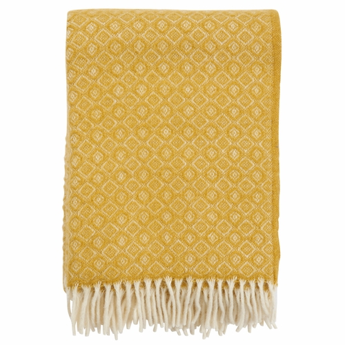 Havanna Brushed Lambs Wool Throw, Yellow