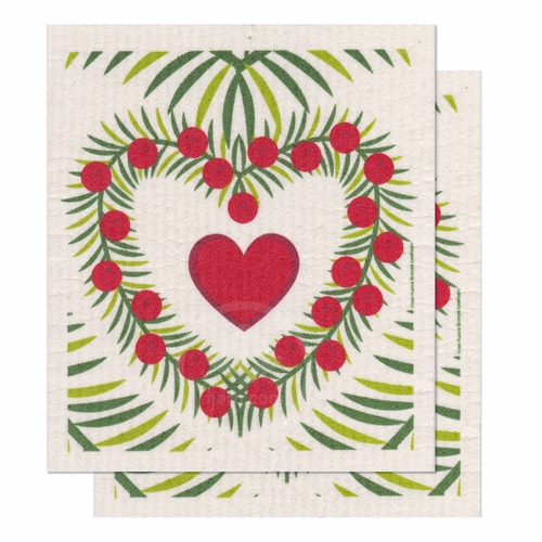 Heart Wreaths Dishcloth, Set of 2