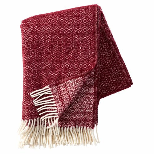 Hekla Brushed ECO Lambs Wool Throw, Bordeaux