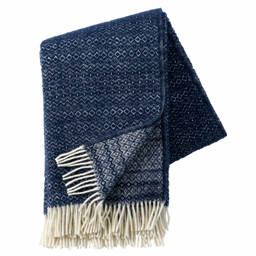 Hekla Brushed ECO Lambs Wool Throw, Dark Denim