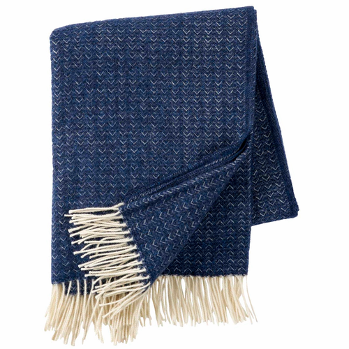 Klippan Himalaya Brushed Cashmere & Merino Wool Throw, Sea Blue