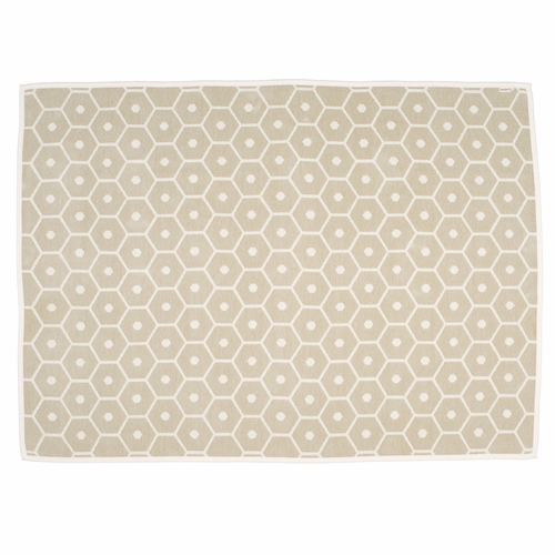 Pappelina Honey Lambs Wool & Cotton Chenille Blanket - Sand, 4 1/2' x 6'