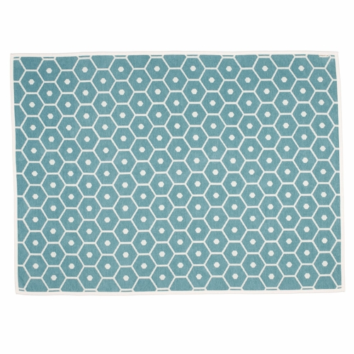 Honey Lambs Wool & Cotton Chenille Blanket - Turquoise, 4 1/2' x 6'
