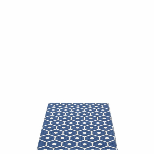 Pappelina Honey Plastic Rug - Denim/Vanilla, 2 1/4' x 2'