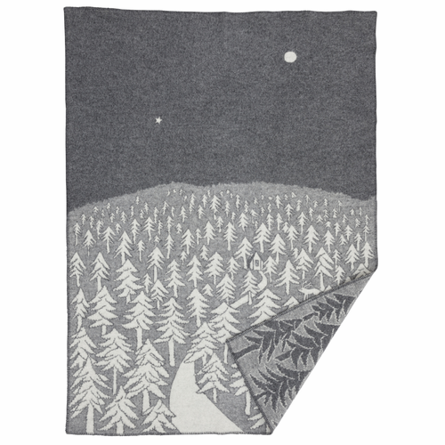 House in the Forest Lambs Wool Blanket, Grey