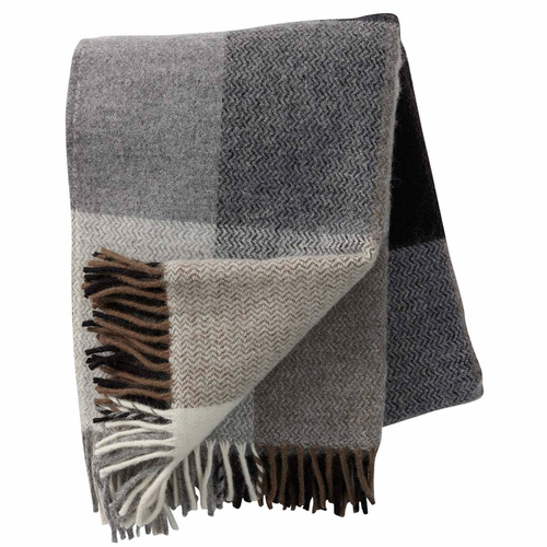 Inez Brushed Lambs Wool Throw, Grey