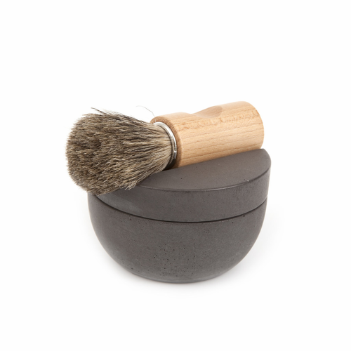 Iris Hantverk Dark Gray Concrete Shaving Cup Set - Walnut with Badger Hair Brush & Soap