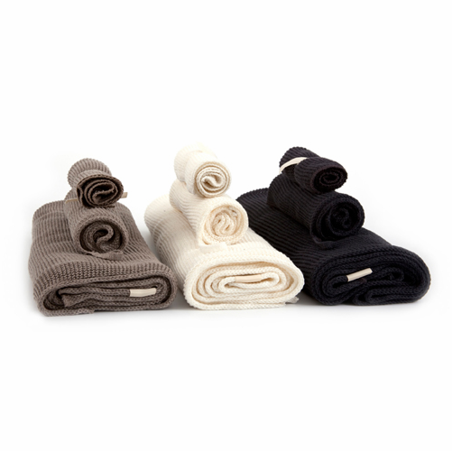 Iris Hantverk Knitted Organic Cotton Bath Towels, Set of 3