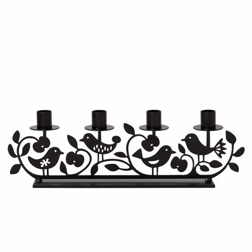 Iron Apple & Bird Candle Holder