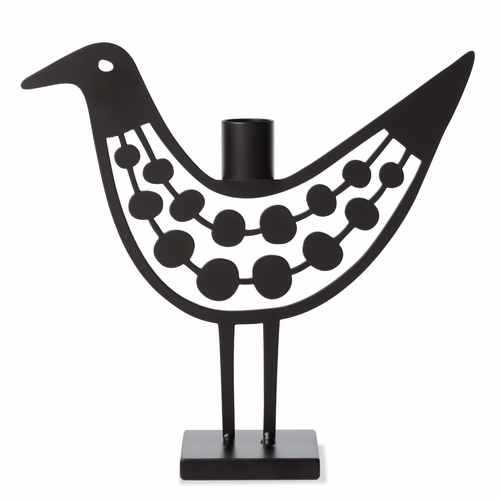 Iron Black Pearls Bird Candle Holder