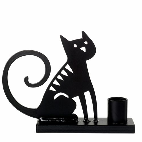 Iron Sitting Cat Candle Holder