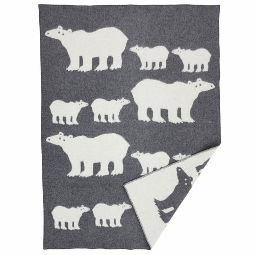 Klippan Isbjorn (Polar Bear) Wool Blanket, Gray / Natural