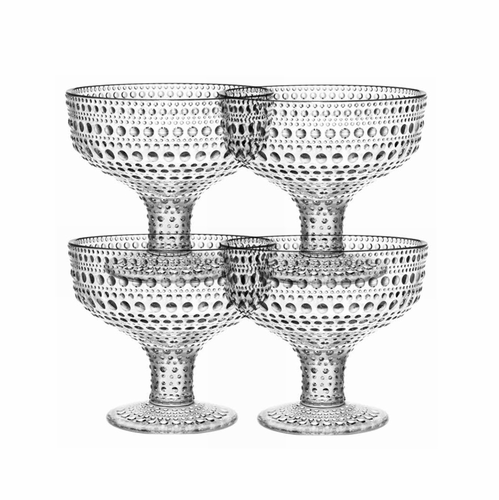 Kastehelmi Footed Bowl, Clear, Set of 4