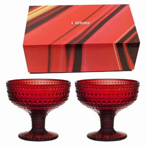 Kastehelmi Footed Bowls Set of 2 in Premium Box, Cranberry