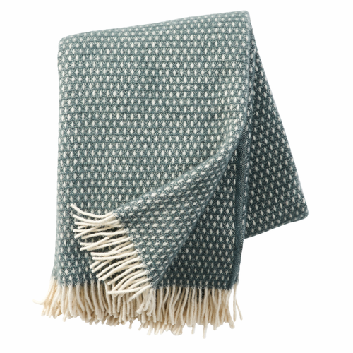 Knut Brushed Lambs Wool Throw, Balsam Green