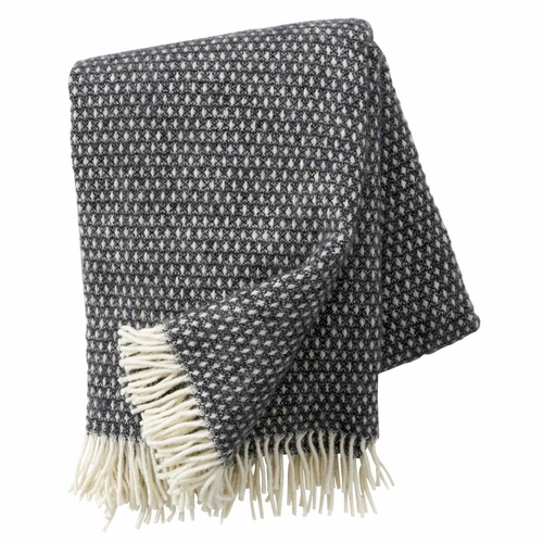 Knut Brushed Lambs Wool Throw, Dark Grey